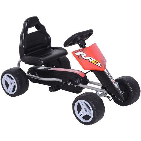 HOMCOM 4 Wheel Pedal Go Kart Kids Ride On Car Outdoor Bike 3-8 Years Black Red