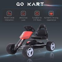 HOMCOM 4 Wheel Pedal Go Kart Kids Ride On Car Outdoor Bike 3-8 Years Black Red