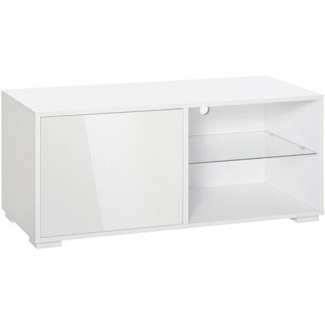 "main image of ""HOMCOM 42"" Modern TV Stand Media Unit w/ Cabinet Shelves Living Room Home White"""