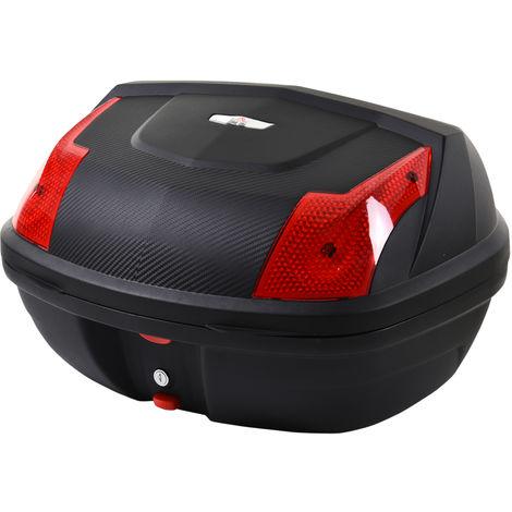 HOMCOM 48L Plastic Motorcycke Travel Box Trunk Storage Box Helmet w/ 2 Reflectors
