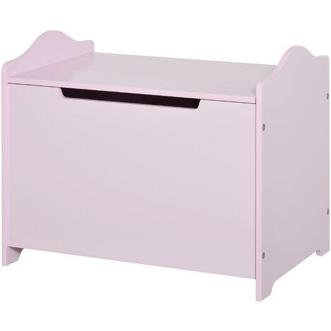 HOMCOM 48x40cm Kids Toy Box Storage Organiser w/ Safety Hinge Girl Pink