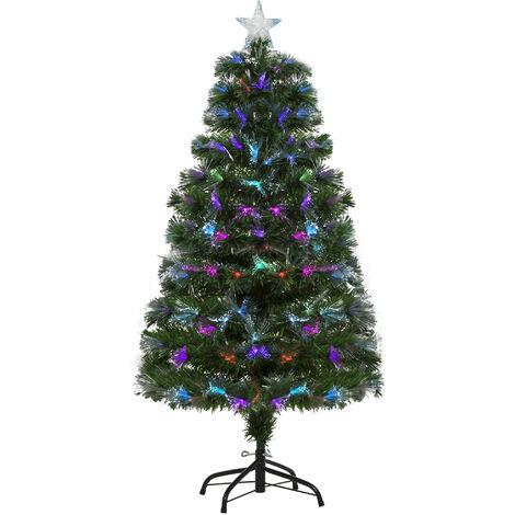 HOMCOM 4FT Multicoloured Artificial Christmas Tree w/ Pre-Lit Modes Metal Stand