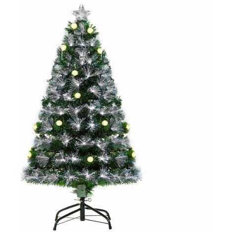 HOMCOM 4ft White Light Artificial Christmas Tree w/ 130 LEDs Star Topper Tri-Base
