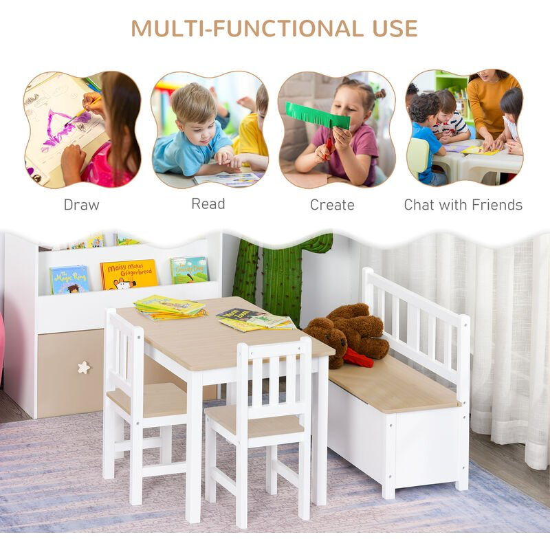 Excellent Homcom 4Pc Wooden Children Table 2 Chairs Toy Storage Bench Stool Kids Pdpeps Interior Chair Design Pdpepsorg