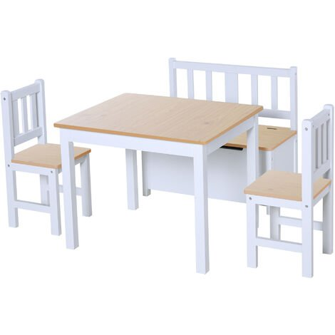 Brilliant Homcom 4Pc Wooden Children Table 2 Chairs Toy Storage Bench Ocoug Best Dining Table And Chair Ideas Images Ocougorg