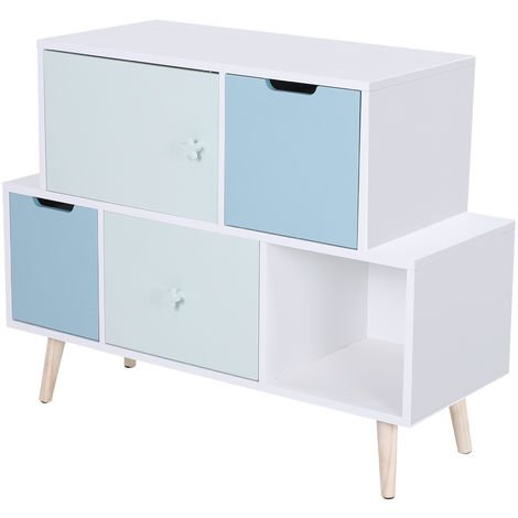 HOMCOM 5 Cube Kids Storage Cabinet w/ Solid Wood Legs Bedroom White Blue