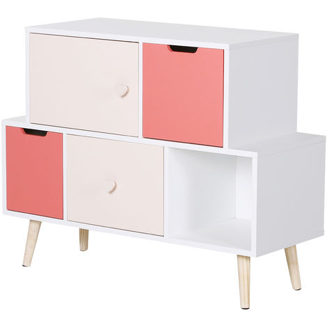 HOMCOM 5 Cube Kids Storage Cabinet w/ Solid Wood Legs Bedroom White Pink