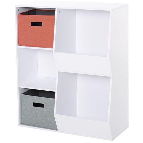 HOMCOM 5-Cube Kids Storage Shelf Organisation w/ 2 Drawers 3 Shelves Multicolour