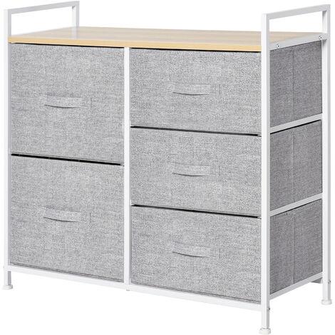 HOMCOM 5 Drawer Linen Basket Storage Unit Home Organisation w/ Shelf Handles