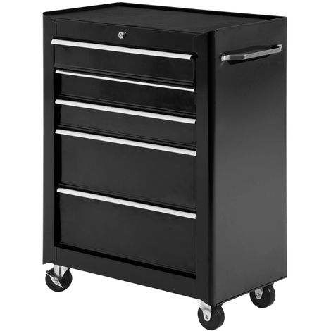 "main image of ""HOMCOM 5-Drawer Steel Tool Garage Storage Cabinet Garage Workshop Chest Black"""