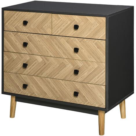 HOMCOM 5-Drawer Storage Cabinet Chest w/ Metal Handles Bedroom Living Room