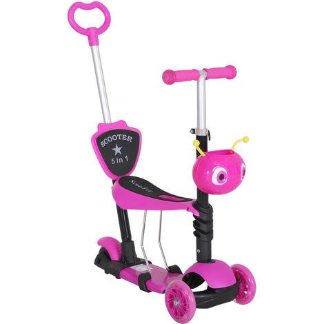 HOMCOM 5-in-1 Kids Toddler 3 Wheels Mini Kick Scooter Push Walker - Pink