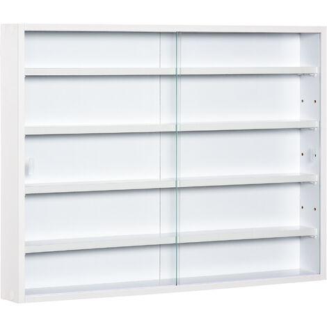 "main image of ""HOMCOM 5-Tier Wall Display Unit Cabinet w/ Adjustable Shelves Glass Doors White"""