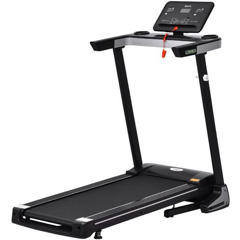 HOMCOM 500W Motorised Treadmill 1-12km/h Folding Frame w/ Wheels Preset Programs