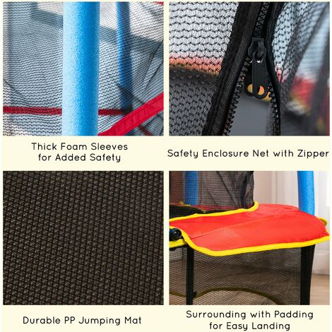 "Homcom 55"" Kids Trampoline Round Bouncer Enclosure Net Pad Children Outdoor Steel"