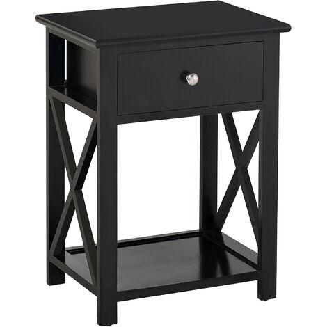 "main image of ""HOMCOM 55cm End Side Table w/ Drawer Shelf Stand Home Storage Furniture Black"""