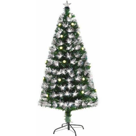 HOMCOM 5ft White Light Artificial Christmas Tree w/ 180 LEDs Star Topper Tri-Base