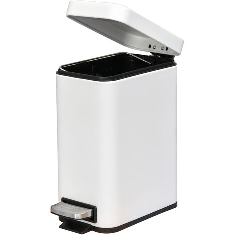 HOMCOM 5L Rectangle Compact Bin Steel Body Inner Bucket Quiet Lid w/ Pedal White