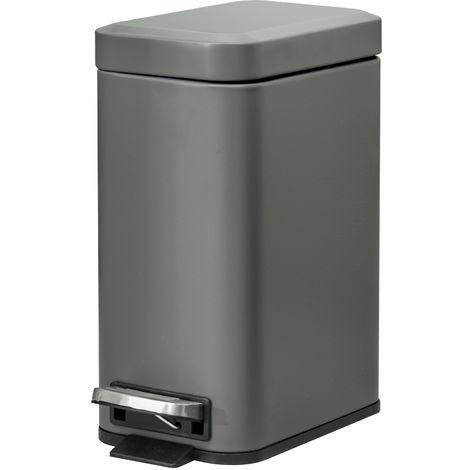 HOMCOM 5L Steel Rubbish Bin w/ Removable Inner Bucket Pedal Home Hygiene