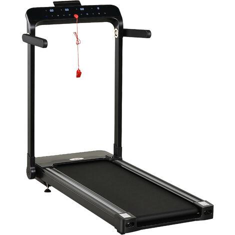 HOMCOM 600W Motor Treadmill Foldable 12 programmes 12km/h Safety Button Black