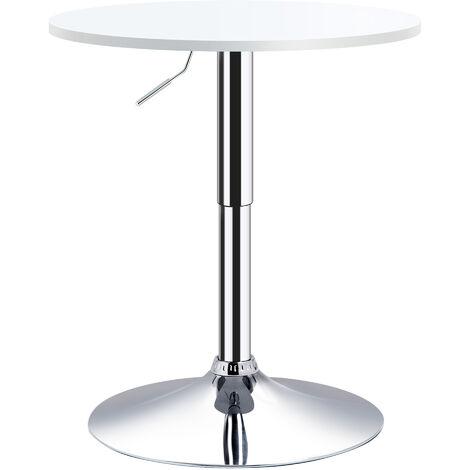 HOMCOM Φ60cm Adjustable Height Round Bar Table w/ Swivel Top Metal Frame White