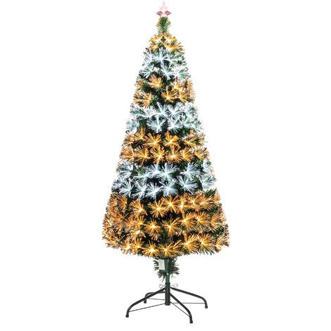 HOMCOM 6FT 230 Light Artificial Christmas Tree LED Fibre Optics Flash Controller