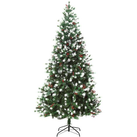 HOMCOM 6ft Artificial Snow-Flocked & Berry Christmas Tree w/ Base Seasonal