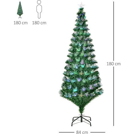 HOMCOM 6FT Multicoloured Artificial Christmas Tree w/ Pre-Lit Modes Metal Stand