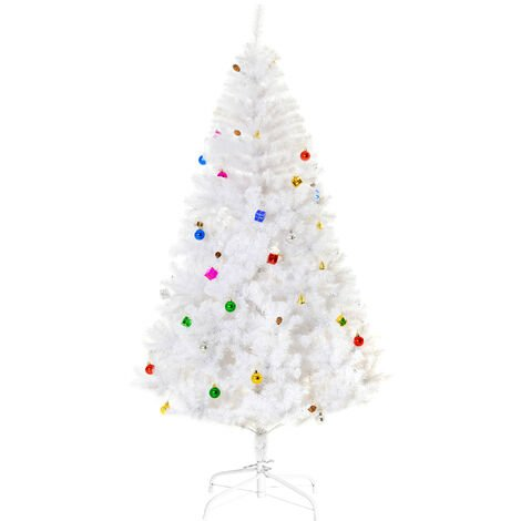 HOMCOM 6ft Snow Artificial Christmas Tree w/ Metal Stand Decorations Home White