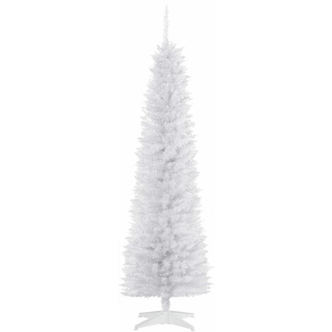HOMCOM 6FT Snow-Look Slim Artificial Christmas Tree 390 Branch Tips Stand White