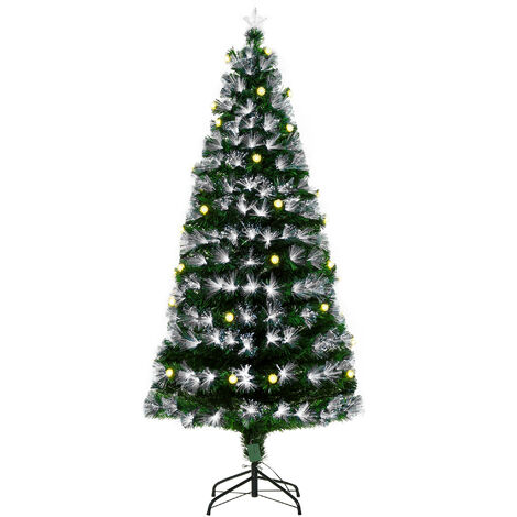 HOMCOM 6ft White Light Artificial Christmas Tree w/ 230 LEDs Star Topper Tri-Base