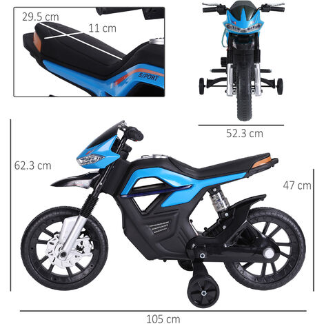 HOMCOM 6V Ride On Electric Motorcycle Toy Battery Vehicle Lights Music Blue