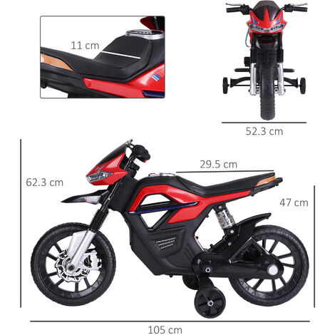 HOMCOM 6V Ride On Electric Motorcycle Toy Battery Vehicle Lights Music Red