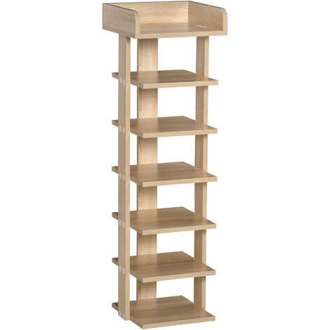 "main image of ""HOMCOM 7-Tier Shelf Shoe Rack Narrow Organiser Storage Hallway Living Brown"""