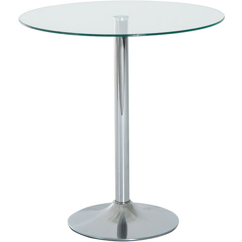 Homcom 70CM Round Glass Top Table End Coffee Bistro Bar Table Chrome Finish