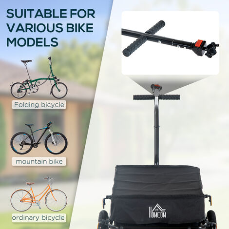"""main image of """"Homcom 70L Large Cargo Trailer Bicycle Carrier Luggage Transport Handle Cart w/ 2 Wheels"""""""