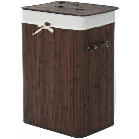 HOMCOM® 72 L Bambus Wäschekorb Wäschetruhe Wäschebox Wäschesammler Eckig 2 Farben