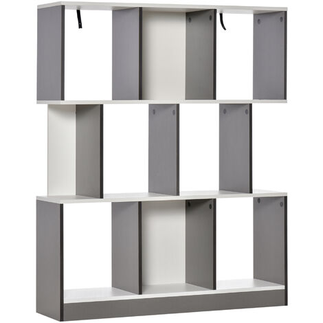 HOMCOM 8 Box 3-Tier Storage Display Unit Bookcase Shelves Home Office