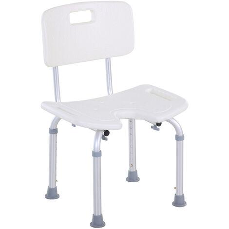 HOMCOM 8-Level Height Adjustable Bath Stool Spa Shower Chair Seat Aluminium Frame