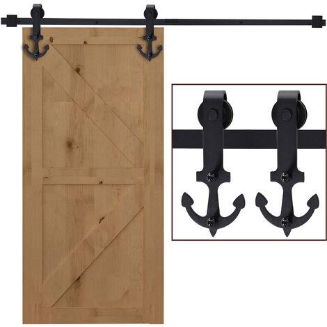 HOMCOM 8 Pcs Steel Barn Door Hardware Kit DIY Track Rail Set Pack w/ Tools