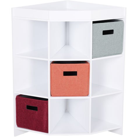 HOMCOM 9-Cube Corner Storage Shelf Kids Home Organisation w/ 3 Drawers Multicolour