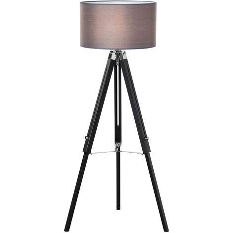 HOMCOM 96-140cm Adjustable Tripod Base Floor Lamp w/ Wood Leg Home Office