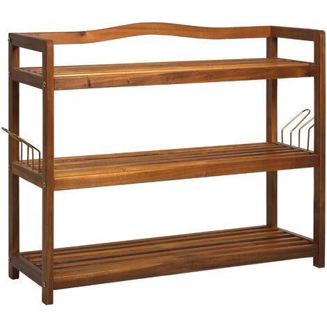HOMCOM Acacia Wood 3-Tier Shoe Storage Rack Hallway Organiser Shelf - 74L x 26W x 62H cm