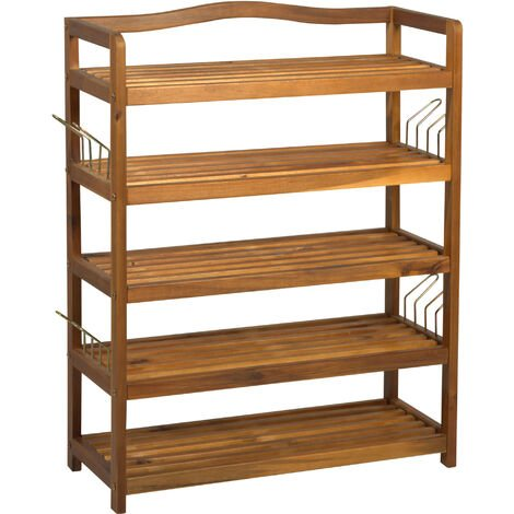 HOMCOM Acacia Wood 5-Tier Shoe Storage Rack Hallway Organiser Shelf - 64L x 26W x 82H cm