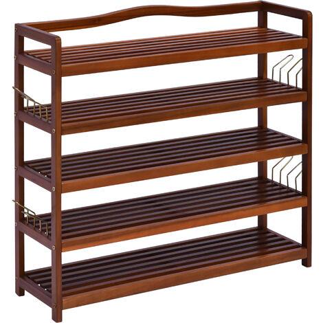 HOMCOM Acacia Wood 5-Tier Shoe Storage Rack Hallway Organiser Shelf - 84L x 26W x 82H cm