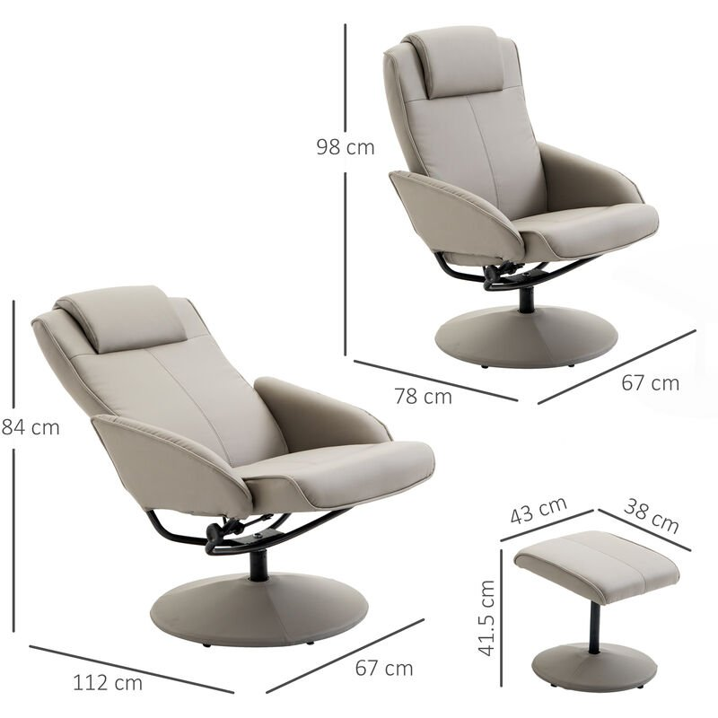 Astonishing Homcom Adjustable Pu Leather Recliner Swivel Executive Reclining Chair With Footrest Stool Grey Ncnpc Chair Design For Home Ncnpcorg