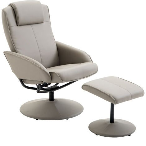"""main image of """"HOMCOM Adjustable PU Leather Recliner Swivel Executive Reclining Chair with Footrest Stool Grey"""""""