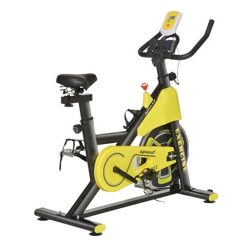 "main image of ""HOMCOM Adjustable Resistance Exercise Bike w/ LCD Display Home Workout Yellow"""
