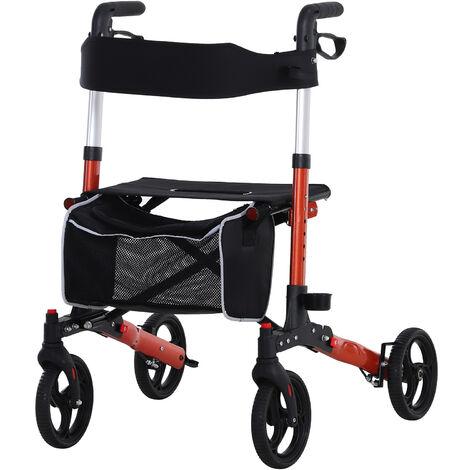 HOMCOM Adjustable Rollator Wheelchair W/ Bag, Crutch Holder 1-Step Open