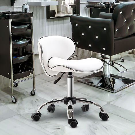 HOMCOM Adjustable Rolling Swivel Beauty Salon Chair, Stool for Spa, Technician - White